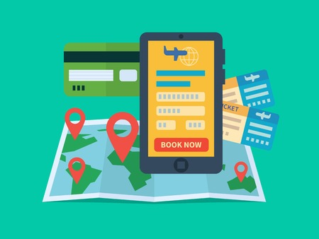 réservation de billets en ligne. ecommerce Internet, Voyage et de la technologie. Plat illustration vectorielle