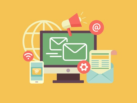 E-mail marketing. Vermeerdering en delen, bevordering en ondersteuning, optimalisatie en megafoon. Platte vector illustratie