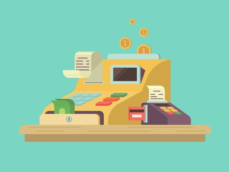 counter service: Cash register in flat style. Money and finance, equipment counter, commercial service, checkout machine. Vector illustration
