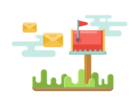 mailbox: Mailbox at lawn with envelopes concept flat vector illustration.