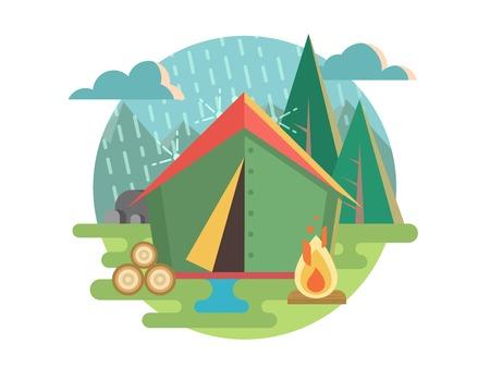 campamento: Recreación al Aire Libre Camping. Tienda de campaña y los viajes, la recreación y el día de campo, el turismo de aventura. Ilustración vectorial Flat