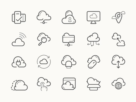 Cloud service server hosting line stroke vector icons. Reklamní fotografie - 43340383