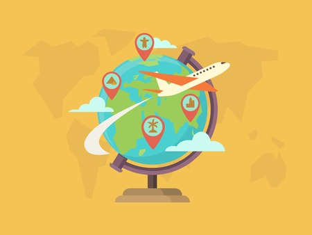 flight: Travel around the world. Globe map, pin location, navigation and route, vector illustration