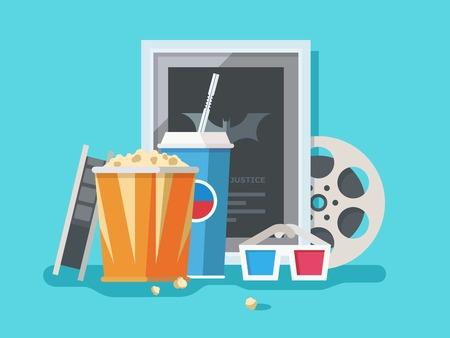 palomitas: Accesorios de Cine. Película y palomitas de maíz, tira y merienda, gafas 3D y soda, ilustración vectorial