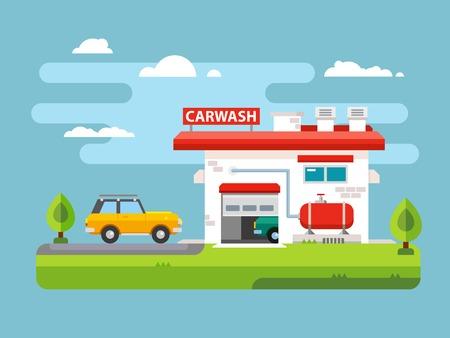 washes: Car wash station building flat vector illustration. Illustration