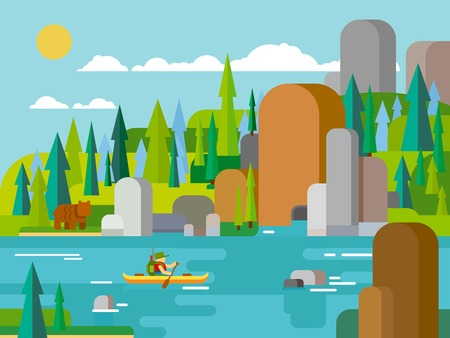 raft: Rafting on river flat style. Outdoor adventure summer, raft extreme, tourism travel activity, forest and rock, boating transport canoe. Vector illustration