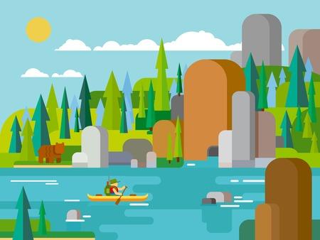bateau: Rafting sur la rivière de style plat. Extérieur l'été de l'aventure, radeau extrême, l'activité Voyage du tourisme, de la forêt et de la roche, la navigation de plaisance transports canot. Vector illustration