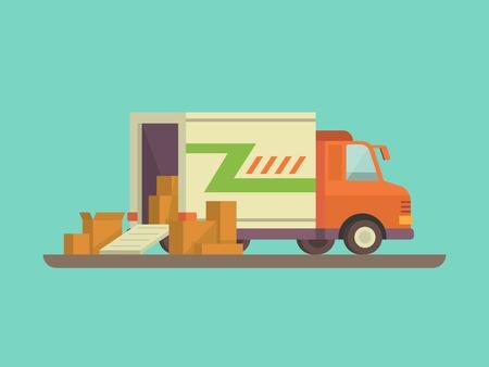 TRANSPORTE: Descarga o carga de camiones. La entrega del env�o carga, exportaci�n o importaci�n, transporte y log�stica, ilustraci�n vectorial plana