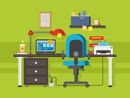 office space: Office workplace. Interior creative, coffee and printer, furniture and folder, shelf and lamp, chair and laptop, flat vector workspace illustration