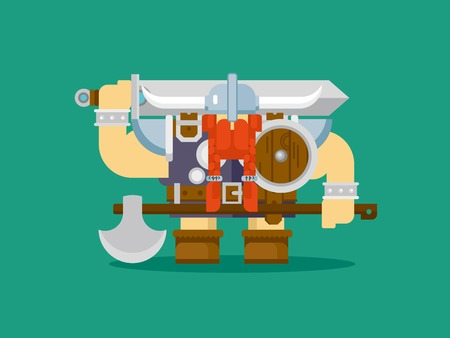 viking: Isolated viking character with axe sword helmet and medieval shield, flat vector illustration
