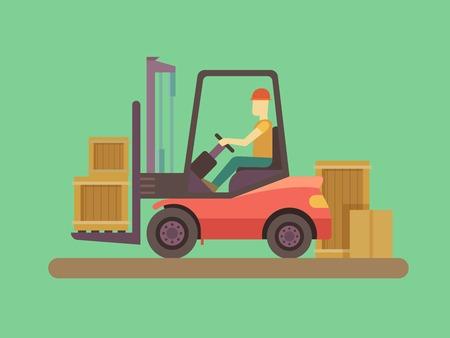 carretillas almacen: Carga y descarga de la m�quina. Equipamiento para la industria de carga, montacargas y la entrega, el transporte y cargador, de trabajo del operador. Ilustraci�n vectorial Flat