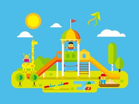 jirafa: Parque infantil. Jugar niño en el patio, niño feliz, jirafa y el tiempo de juego al aire libre, ilustración vectorial plana