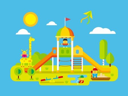 Childrens playground. Play kid on yard, happy child, giraffe and playtime outdoor, flat vector illustration