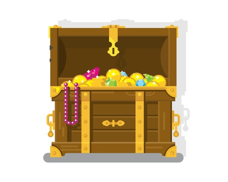 Treasure chest with gold coins. Chest and box, money and wealth, flat vector illustration
