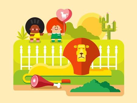 aviary: Lion zoo. King animal wild, predator mammal, wildlife and leo. Flat vector illustration