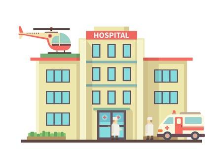 Costruzione dell'ospedale stile piatto. Ambulanza ed elicottero, la salute e la cura, soccorso e medico. illustrazione di vettore Archivio Fotografico - 43880731