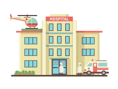exteriores: Edificio del hospital estilo plano. Ambulancia y helicóptero, la salud y la atención, ayuda y médico. Ilustración vectorial