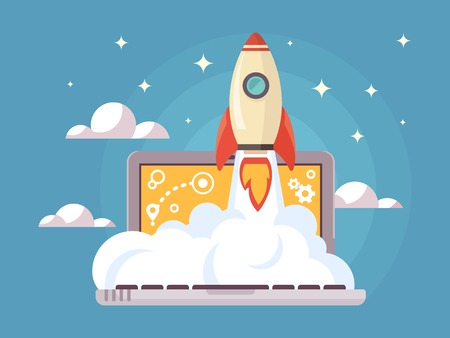 progress: Web start up flat style. Rocket flight, promotion seo, laptop and launch, vector illustration