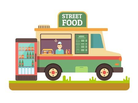 quick snack: Store fast food van. Lunch sandwich, menu and snack, hot dinner, market and beverage in fridge, street shop, flat vector illustration Illustration