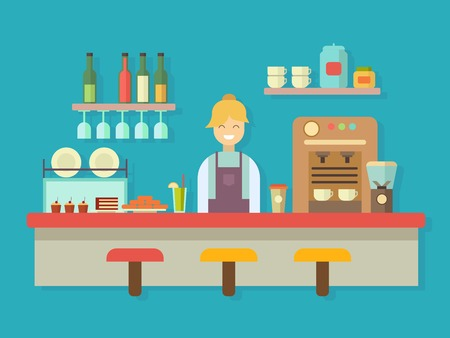 barkeeper: Bar counter. Cocktail alcohol, coffee machine and cake, dessert food, flat vector illustration