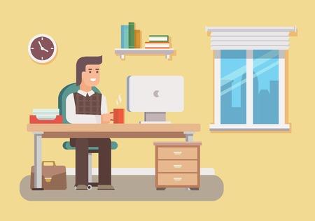 Kantoormedewerker. Zakelijke werk, bureau en de werkplek, werknemer man, zakenman, workflow en werkruimte. Platte vector illustratie