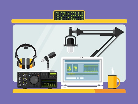 studio: Professional radio station studio with microphone and other equipment on table flat vector illustration
