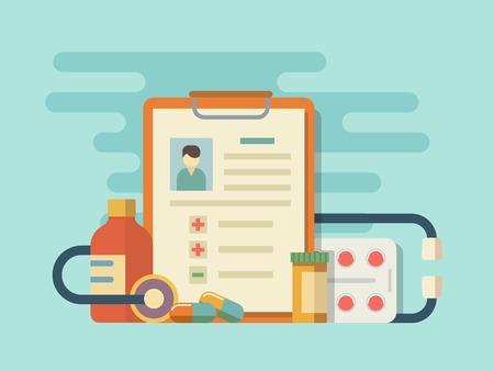 Píldoras de la medicina estetoscopio. Píldora y la ayuda, la farmacia y la cápsula de drogas. Ilustración vectorial Flat