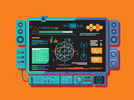Abstract control panel with a variety of data. Information and infographic, digital network graphic, flat vector illustration Vettoriali