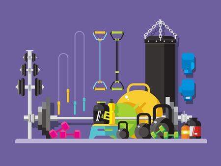 pesas: estilo plano gimnasio. Pesas rusas y de perforaci�n, bolsa, diapas�n y el culturismo, ilustraci�n vectorial