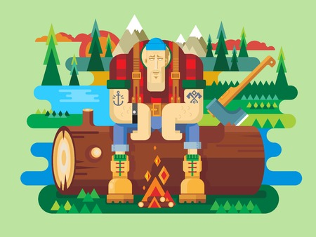 sawyer: Sawyer sitting on log. Worker and lumberjack, forester man, flat vector illustration