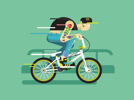 bicycle pedal: Active bicyclist. Young guy on bmx traffic, motion active. Flat vector illustration