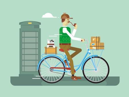 cartero: Cartero retro en una bicicleta. Hombre de salida, servicio de correo, trabajo postal, ilustración vectorial plana