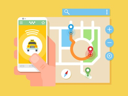 travel phone: Mobile taxi application. Transport service, position pin on map. Flat vector illustration