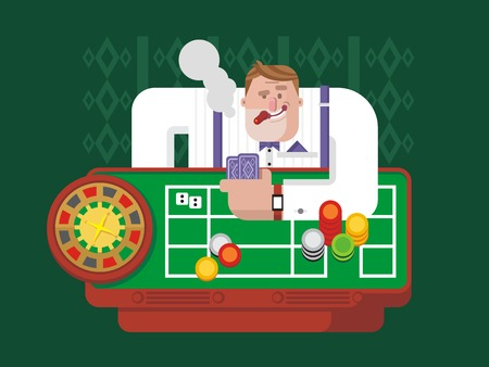 gambler: Gambler playing roulette. Luck chance, gambling game, casino and fortune, leisure and success risk. Flat vector illustration