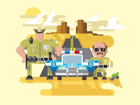 siren: Texas police. Cop officer, law and sheriff, vehicle with siren, security and policeman. Flat vector illustration