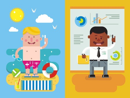 vocation: Calling from vacation to work. Man and phone, worker person, communication businessman from vocation. Flat vector illustration