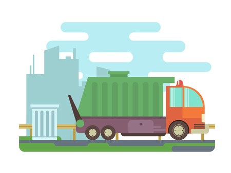 dump truck: Garbage truck. Transportation container, trash and waste, industry car, flat vector illustration
