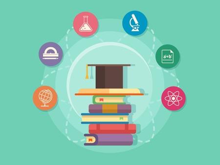 educativo: Enseñanza de las ciencias. Escuela y universidad estudio, el libro y el conocimiento, ilustración vectorial plana