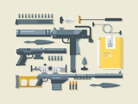 the silencer: Set weapons. Military and war, ramrod and gun, silencer and sniper rifle, flat vector illustration Illustration