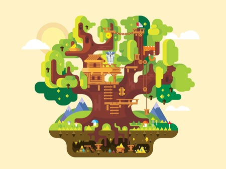 strange mountain: Fabulous tree house. Childhood building, nature home design, fantasy architecture, flat vector illustration
