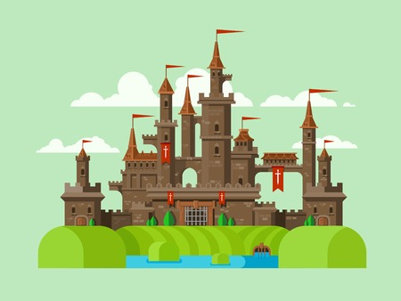 Medieval castle. Tower building, architecture ancient history, moat with water. Flat vector illustration