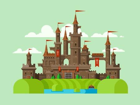 Middeleeuws kasteel. Toren, architectuur oude geschiedenis, gracht met water. Platte vector illustratie Stock Illustratie