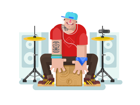 drum and bass: Stylish drummer play on cajon. Drum and music, listening beat, instrument and rhythm bass, flat vector illustration