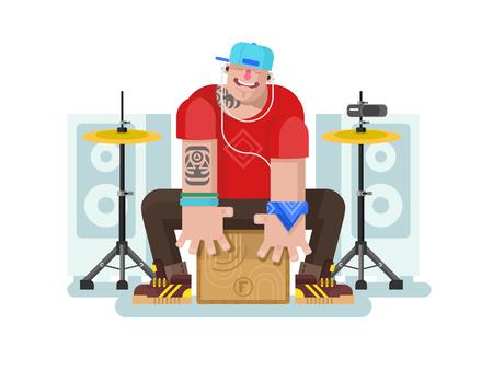drummer: Stylish drummer play on cajon. Drum and music, listening beat, instrument and rhythm bass, flat vector illustration