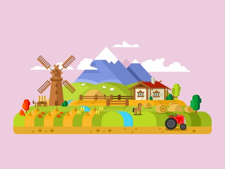 House in village. Landscape farm, rural home, meadow and windmill, flat vector illustration