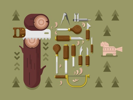 carver: Concept woodcarving. Instrument for carving, carpentry tool, chisel and saw, flat vector illustration