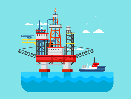 fire and water: Drilling rig at sea. Oil platform, gas fuel, industry offshore, drill technology, flat vector illustration Illustration