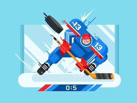 hockey sobre hielo: Jugador de hockey carácter. Protección y palillo, duende malicioso y de golpe, atleta y patín, juego y la competencia, ilustración vectorial
