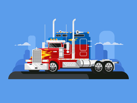 Fura truckers. Truck vehicle, transportation freight, automobile industrial, delivery cargo, flat vector illustration Illustration