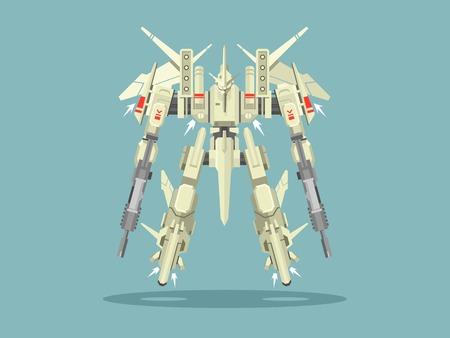 fantasy warrior: Military robot transformer. Metallic isolated robotic, toy, warrior fantasy cyborg, futuristic technology, mechanism machine gun, vector illustration